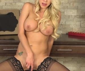 Solo blonde fuck doll, Katie Morgan masturbates